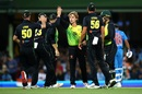 Adam Zampa is congratulated by his team-mates, Australia v India, 3rd T20I, Sydney, November 25, 2018
