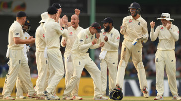 England celebrate after Jack Leach's successful review
