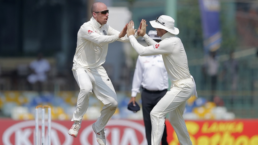 Jack Leach takes flight after dismissing Lakshan Sandakan