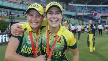 Alyssa Healy and Ellyse Perry celebrate Australia's win in the World T20 final against England in 2014