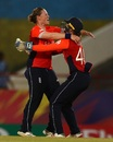 Anya Shrubsole and Amy Jones celebrate a wicket, England v West Indies, World T20 2018, Saint Lucia, November 18, 2018
