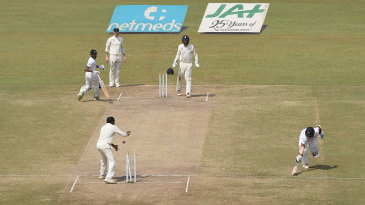 Kusal Mendis was run out by a direct hit from Jack Leach