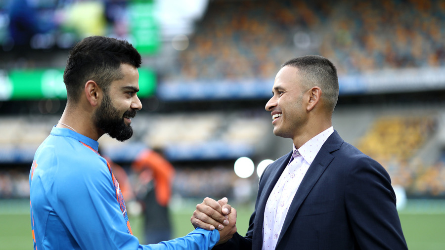 Virat Kohli and Usman Khawaja have a laugh