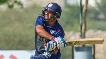 Jannisar Khan pulls wide of mid-on for a boundary