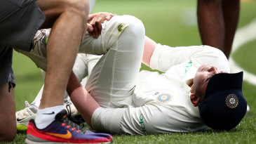 Prithvi Shaw lies on the ground in pain after injuring his ankle
