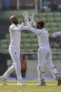 Roston Chase celebrates with Shane Dowrich after getting Soumya Sarkar out, Bangladesh v West Indies, 2nd Test, Mirpur, 1st day, November 30, 2018