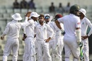 Devendra Bishoo celebrates a wicket with his team-mates, Bangladesh v West Indies, 2nd Test, Mirpur, 1st day, November 30, 2018