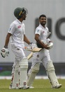 Mahmudullah and Liton Das walk back after a promising first session, Bangladesh v West Indies, 2nd Test, Mirpur, 2nd day, December 1, 2018