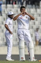 Mahmudullah displays a heart sign after reaching his third Test ton, Bangladesh v West Indies, 2nd Test, Mirpur, 2nd day, December 1, 2018