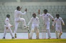 Mehidy Hasan celebrates a wicket with team-mates, Bangladesh v West Indies, 2nd Test, Dhaka, 3rd day, December 2, 2018