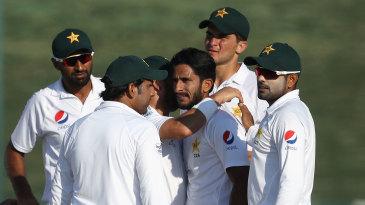 Pakistan celebrate the dismissal of Kane Williamson