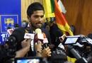 Sri Lanka captain Dinesh Chandimal addresses the media before the team's departure to New Zealand, Colombo, December 4, 2018