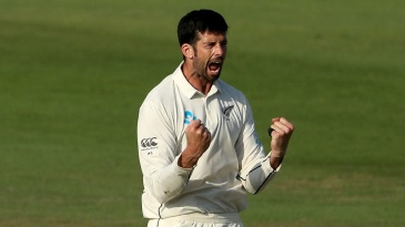 William Somerville celebrates a wicket