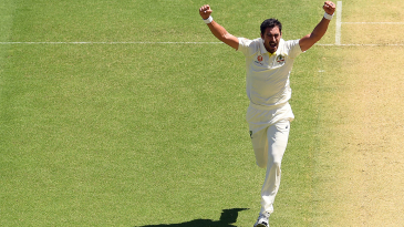 Mitchell Starc is pumped up after dealing an early blow