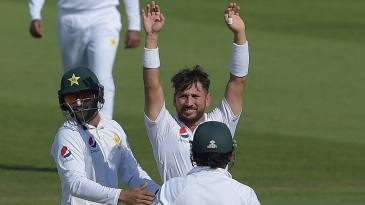 Yasir Shah celebrates his 200th Test wicket