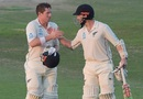 Kane Williamson and Henry Nicholls congratulate each other at stumps, Pakistan v New Zealand, 3rd Test, Abu Dhabi, 4th day, December 6, 2018