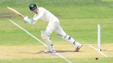 Peter Handscomb turns one on the leg side during his 34