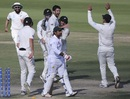 William Somerville celebrates Sarfraz Ahmed's wicket, Pakistan v New Zealand, 3rd Test, Abu Dhabi, 5th day, December 7, 2018
