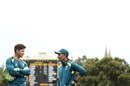 Tim Paine and Justin Langer have a chat, Australia v India, 1st Test, Adelaide, 3rd day, December 8, 2018