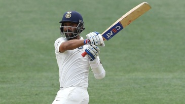 Ajinkya Rahane gets a pull shot away