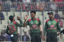 Mustafizur Rahman celebrates a wicket, Bangladesh v West Indies, 1st ODI, Dhaka, December 9, 2018