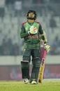 Mushfiqur Rahim looks heavenwards after his half-century, Bangladesh v West Indies, 1st ODI, Dhaka, December 9, 2018