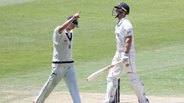 Mitchell Marsh walks off after being given lbw