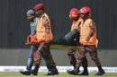 Liton Das was stretchered off after copping a blow to the ankle, Bangladesh v West Indies, 2nd ODI, Dhaka, December 11, 2018
