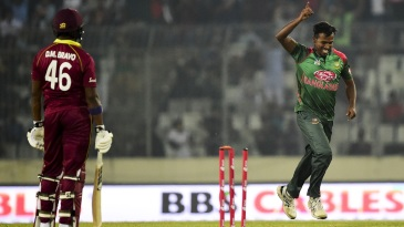 Rubel Hossain is chuffed after picking up a wicket