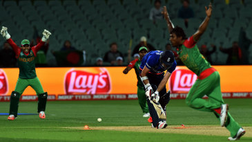 Rubel Hossain bowls last man James Anderson for a duck to wrap up the game