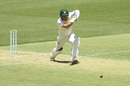 Aaron Finch drives the ball away, Australia v India, 2nd Test, Perth, 1st day, December 14, 2018