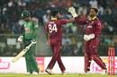 Keemo Paul and Shimron Hetmyer celebrate Liton Das' dismissal, Bangladesh v West Indies, 3rd ODI, Sylhet, December 14, 2018
