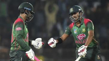Tamim Iqbal and Soumya Sarkar fist-bump each other