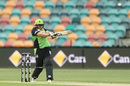 Rachel Priest smashes the ball during her half-century, Adelaide Strikers v Sydney Thunder, WBBL 2018-19, Hobart, December 15, 2018