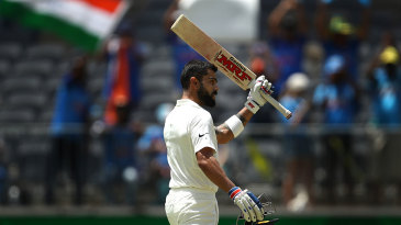 Virat Kohli reached his 25th Test hundred
