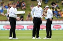 Umpires Chris Brown, Michael Gough and Rod Tucker weigh up their options for a new ball, New Zealand v Sri Lanka, 1st Test, Wellington, 3rd day, December 17, 2018