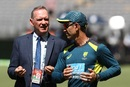 Chairman of selectors Trevor Hohns and coach Justin Langer have a chat, Australia v India, 2nd Test, Perth, 4th day, December 17, 2018