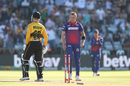 Dale Steyn lets out a smile after knocking over the off stump, Cape Town Blitz v Jozi Stars, Mzansi Super League 2018, Cape Town, December 16, 2018