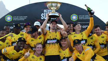 The Jozi Stars team celebrates with the inaugural MSL trophy