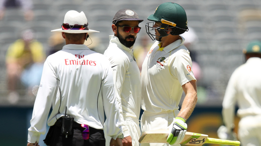 Things heated up between Virat Kohli and Tim Paine in the first session