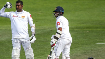 Angelo Mathews gestures towards the dressing room after a stonewalling century at Basin Reserve