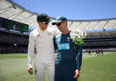 Tim Paine and Justin Langer after victory was secured, Australia v India, 2nd Test, Perth, 5th day, December 18, 2018