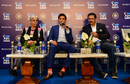Diana Edulji, Mumbai Indians owner Akash Ambani and Kolkata Knight Riders CEO Venky Mysore at a press conference, Jaipur, December 19, 2018