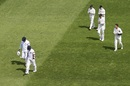 The New Zealanders applaud Angelo Mathews and Kusal Mendis as they walk off after batting an entire day, New Zealand v Sri Lanka, 1st Test, Wellington, 4th day