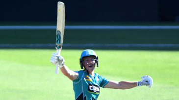 Grace Harris celebrates after smashing the fastest WBBL hundred