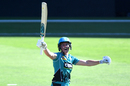 Grace Harris celebrates after smashing the fastest WBBL hundred, Brisbane Heat v Melbourne Stars, WBBL 04, Brisbane, December 19, 2018