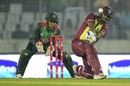 Nicholas Pooran top-edges a sweep, Bangladesh v West Indies, 2nd T20I, Mirpur, December 20, 2018
