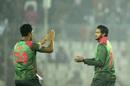 Shakib Al Hasan celebrates with Mohammad Saifuddin, Bangladesh v West Indies, 2nd T20I, Mirpur, December 20, 2018