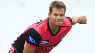 Steven Smith bowls in the nets