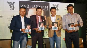 Rahul Dravid, VVS Laxman, Anil Kumble and Javagal Srinath at the book launch of '281 And Beyond'